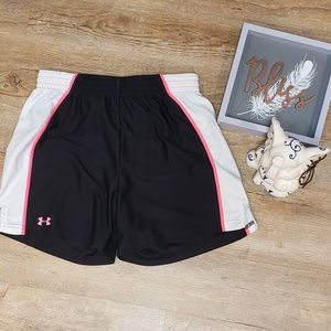 Under armour athletic shorts pink/black/white S